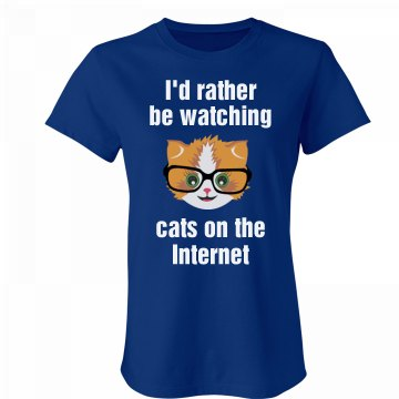 Rather Be Watching Cats Junior Fit Bella Favorite Tee
