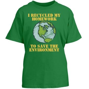 Recycle My Homework Youth Gildan Heavy Cotton Crew Neck Tee
