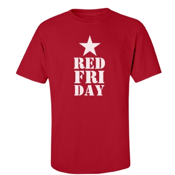 Red Friday Star Mens Unisex Port & Company Essential Tee