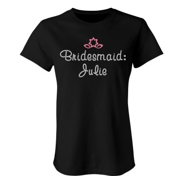 Rhinestone Pink Accent Junior Fit Bella Favorite Tee