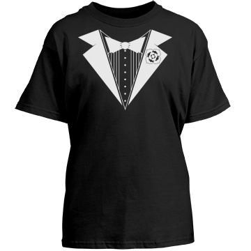 Ring Bearer Tuxedo Youth Gildan Heavy Cotton Crew Neck Tee