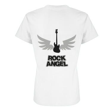 Rock Angel Back Design Junior Fit Basic Bella Favorite Tee