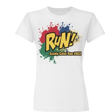 Run Color Splat  Junior Fit Basic Tultex Fine Jersey Tee