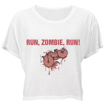 Run, Zombie, Run Bella Flowy Boxy Lightweight Crop Top Tee