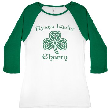 Ryan's Lucky Charm Junior Fit Bella 1x1 Rib 3/4 Sleeve Raglan Tee