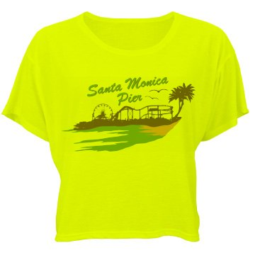 Santa Monica Pier Crop Bella Flowy Boxy Lightweight Crop Top Tee