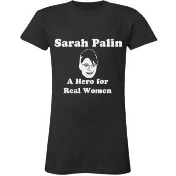 Sarah Palin-Hero Junior Fit LA T Fine Jersey Tee