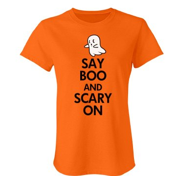 Say Boo And Scary On Junior Fit Bella Favorite Tee