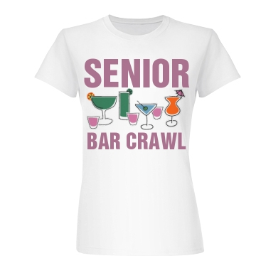 Senior Bar Crawl Drinks Junior Fit Basic Bella Favorite Tee
