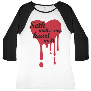 Seth Makes My Heart Melt Junior Fit Bella 1x1 Rib 3/4 Sleeve Raglan Tee