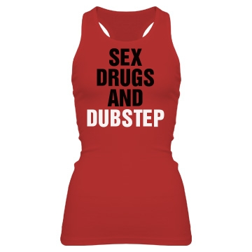 Sex Drugs & Dubstep Junior Fit Bella Sheer Longer Length Rib Racerback Tank Top