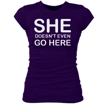 She Doesn't Go Here Junior Fit Bella Sheer Longer Length Rib Tee