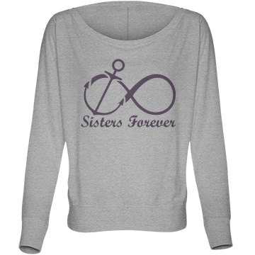Sisters Forever Anchor Bella Flowy Lightweight Long Sleeve Dolman Tee