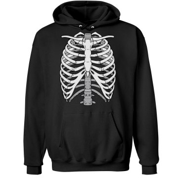 Skeleton Ribcage Graphic Unisex Hanes Ultimate Cotton Heavyweight Hoodie