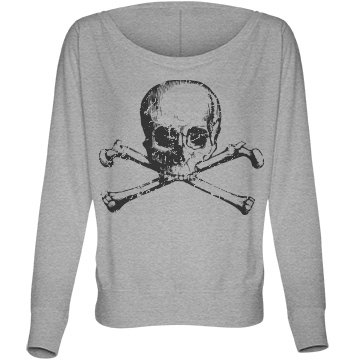 Skull Fashion Distressed Bella Flowy Lightweight Long Sleeve Dolman Tee