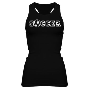 Soccer Ball Tank Junior Fit Bella Sheer Longer Length Rib Racerback Tank Top