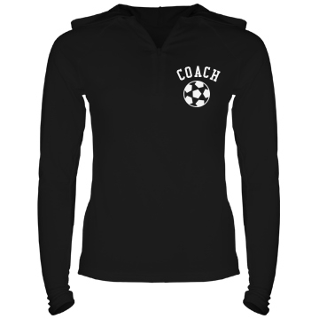 Soccer Coach Hoodie Junior Fit Bella Long Sleeve 1/2 Zip Hooded Pullover Tee