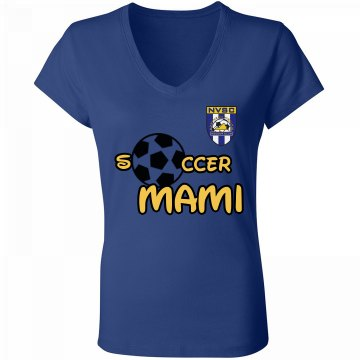 Soccer Mami Black Junior Fit Bella V-Neck Jersey Tee