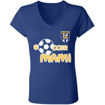 Soccer Mami White Junior Fit Bella V-Neck Jersey Tee