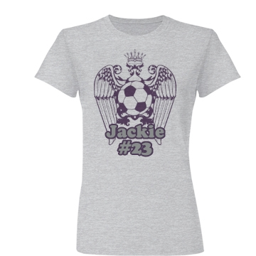 Soccer Purple Wing Junior Fit Basic Bella Favorite Tee