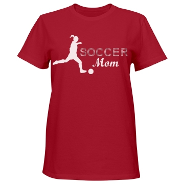 Soccer Rhinestones Misses Relaxed Fit Port & Company Essential Tee