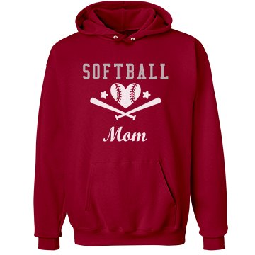 Softball Mom Rhinestone Unisex Hanes Ultimate Cotton Heavyweight Hoodie