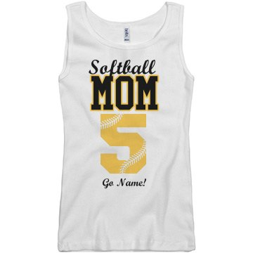 Softball Mom Tank Junior Fit Basic Bella 2x1 Rib Tank Top