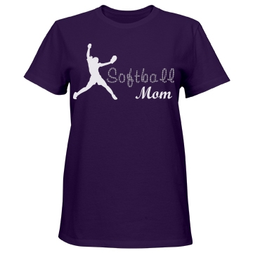 Softball Rhinestone Mom Misses Relaxed Fit Port & Company Essential Tee