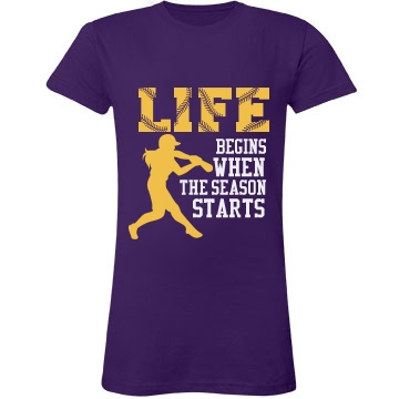 Softball Season Shirt Junior Fit LA T Fine Jersey Tee