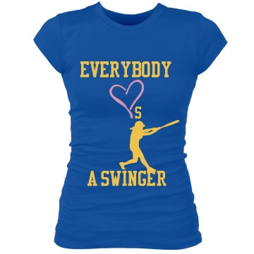 Softball Swinger Tee Junior Fit Bella Sheer Longer Length Rib Tee