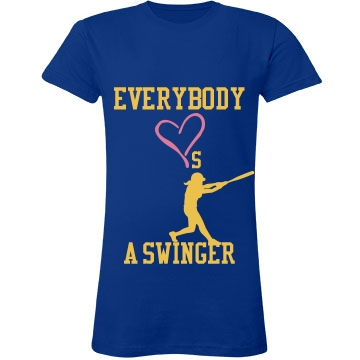 Softball Swinger Tee Junior Fit LA T Fine Jersey Tee