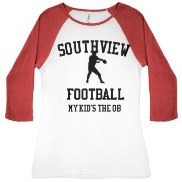 Southview Football Junior Fit Bella 1x1 Rib 3/4 Sleeve Raglan Tee