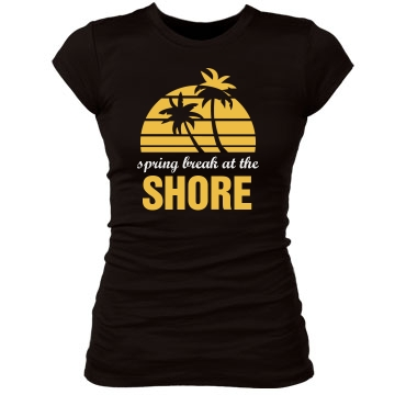 Spring Break At The Shore Junior Fit Bella Sheer Longer Length Rib Tee