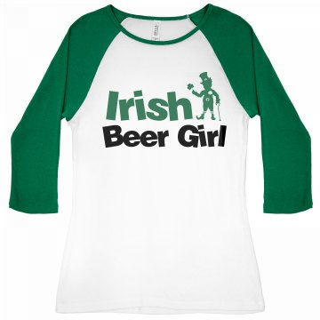 St. Patrick's Beer Girl Junior Fit Bella 1x1 Rib 3/4 Sleeve Raglan Tee