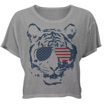 Star Bengaled Tiger Bella Flowy Boxy Lightweight Crop Top Tee