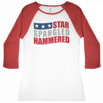 Star Spangled American Junior Fit Bella 1x1 Rib 3/4 Sleeve Raglan Tee