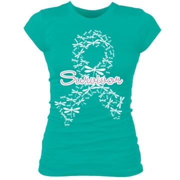 Survivor Ovarian Cancer Junior Fit Bella Sheer Longer Length Rib Tee