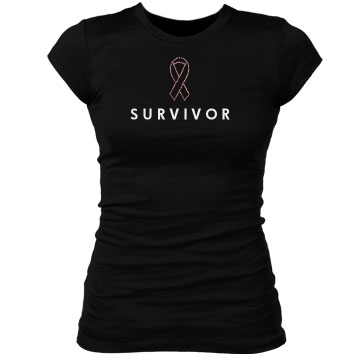 Survivor Rhinestone Tee Junior Fit Bella Sheer Longer Length Rib Tee