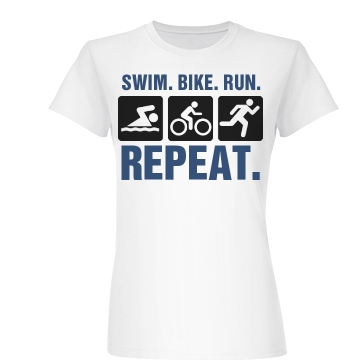 Swim Bike Run Repeat Junior Fit Basic Bella Favorite Tee