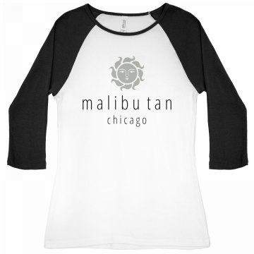 Tanning Salon Tee Junior Fit Bella 1x1 Rib 3/4 Sleeve Raglan Tee