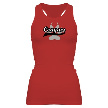 Team Cougars Junior Fit Bella Sheer Longer Length Rib Racerback Tank Top