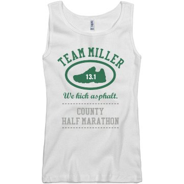 Team Miller Half Marathon Junior Fit Basic Bella 2x1 Rib Tank Top