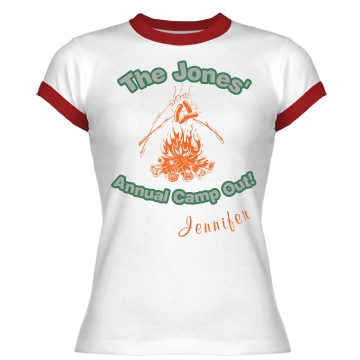 The Jones' Camp Out Junior Fit Bella 1x1 Rib Ringer Tee