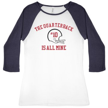 The Quaterback is Mine Junior Fit Bella 1x1 Rib 3/4 Sleeve Raglan Tee