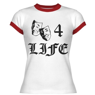 Theater For Life Junior Fit Bella 1x1 Rib Ringer Tee