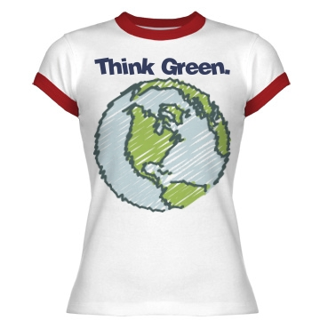 Think Green Ringer Junior Fit Bella 1x1 Rib Ringer Tee