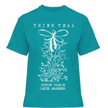Think Teal Ovarian Cancer Misses Relaxed Fit Gildan Heavy Cotton Tee
