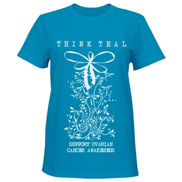 Think Teal Ovarian Cancer Misses Relaxed Fit Port & Company Essential Tee