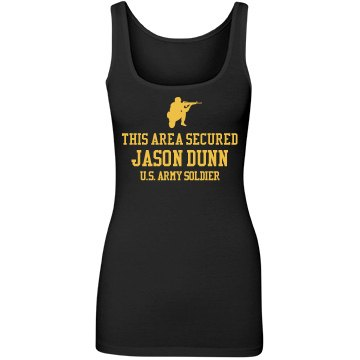 This Area Secured Army Junior Fit Next Level Longer Length Tank Top