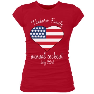 Thoburn Family Cookout Junior Fit Bella Sheer Longer Length Rib Tee